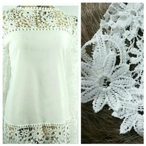 Vintage White LACED Sheer blouse / tunic